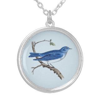 Victorian Blue Bird Round Necklace