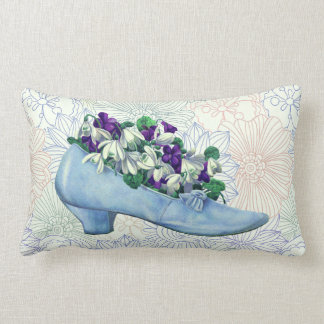 Victorian Blue Shoe Floral Lumbar Pillow