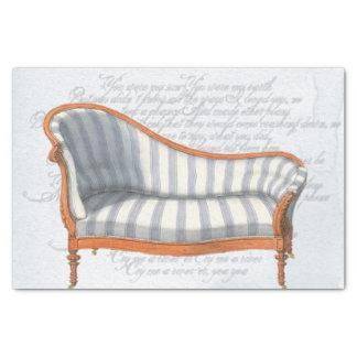 Victorian Blue Stripe Chaise Lounge Tissue Paper