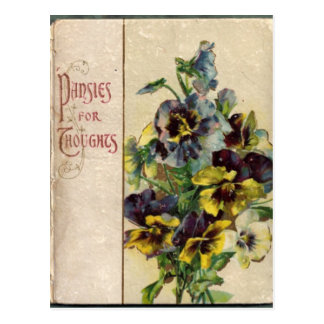 Victorian Book Cover Pansies Postcard