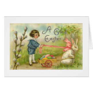 Victorian Boy And Bunny Egg Cart Easter Card