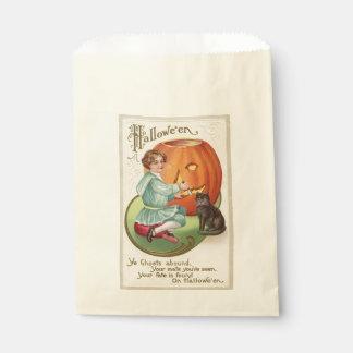 Victorian Boy Carving Pumpkin Halloween Favour Bag