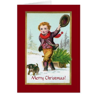 Victorian Boy with Puppy Christmas Greeting Card