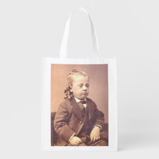 Victorian boy with unfortunate hair style reusable grocery bag