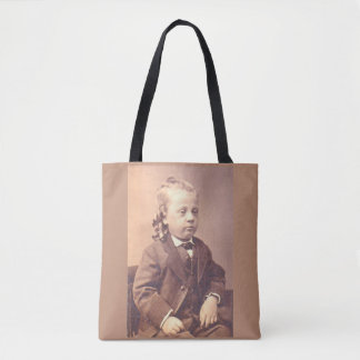Victorian boy with unfortunate hair style tote bag