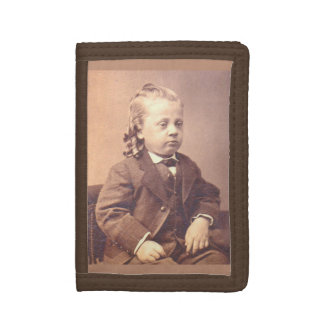Victorian boy with unfortunate hair style tri-fold wallets
