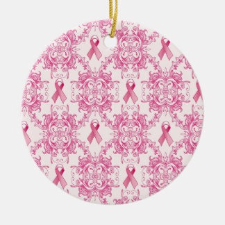 Victorian Breast Cancer Ribbon Damask Products Ceramic Ornament