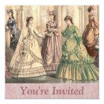 """Victorian Bride and Attendants 5.25"""" Square Invitation Card"""