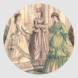 Victorian Bride and Attendants Round Stickers
