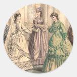 Victorian Bride and Attendants Round Stickers