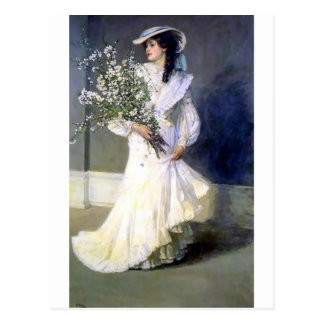 Victorian bride wedding fashion postcard