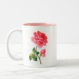 Victorian Bright Pink Rose Print Mug