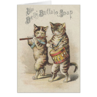 Victorian Buffalo Soap Cat Fife And Drum Note Card
