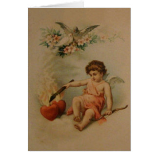 Victorian Burning Hearts Valentine's Day Note Card