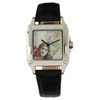 Victorian Cabbage Roses Woman Floral Black Leather Wrist Watches