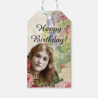 Victorian Cabbage Roses Woman Floral Gift Tags Pack Of Gift Tags