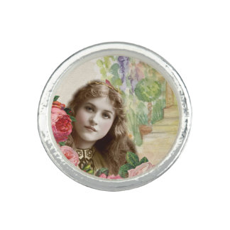 Victorian Cabbage Roses Woman Floral Ring