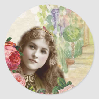 Victorian Cabbage Roses Woman Floral Sticker