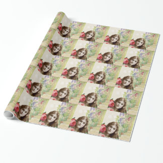 Victorian Cabbage Roses Woman Floral WrappingPaper