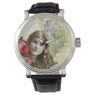 Victorian Cabbage Roses Woman Vintage Leather Wrist Watches