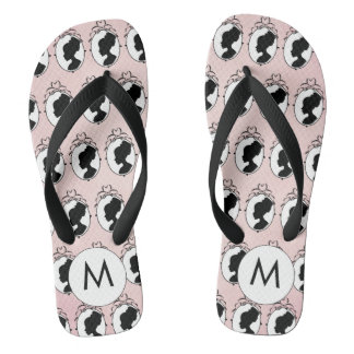 Victorian Cameo Style Pink Flip Flops