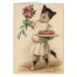 Victorian Cat Chef / Baker Birthday Card