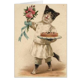Victorian Cat Chef / Baker Birthday Card