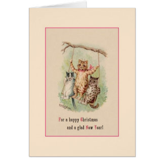 Victorian Cat Christmas and New Year Greeting Card