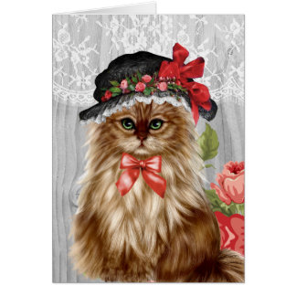 Victorian Cat in Hat Greeting Card