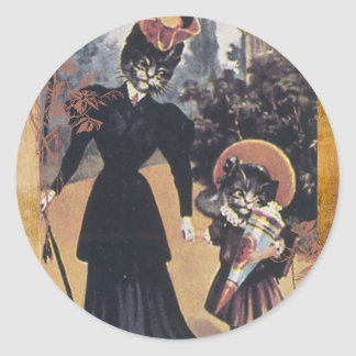 Victorian Cat Mother Daughter Classic Round Sticker