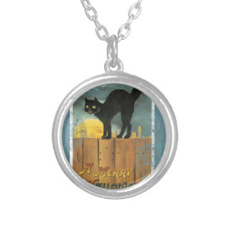 Victorian Cat On Fence Halloween Moon Silver Plated Necklace