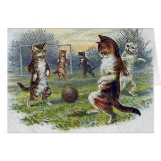 Victorian Cat Soccer Match Note Card