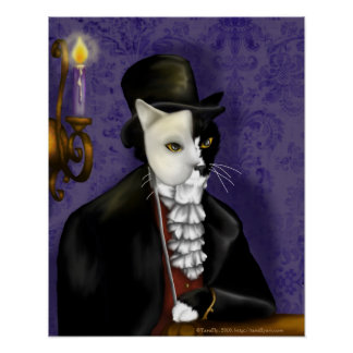 Victorian Cat Wearing Tuxedo and Mask Portrait Poster