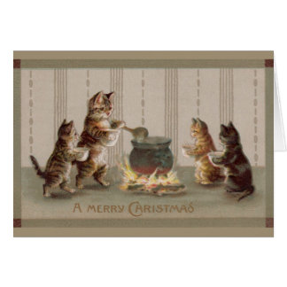 Victorian Cats Christmas Greeting Card