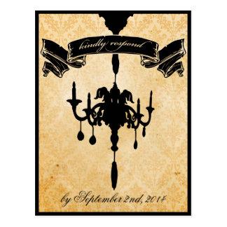 Victorian Chandelier • black & cream RSVP Postcard