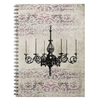 Victorian Chandelier Shabby Chic Vintage Damask Notebooks