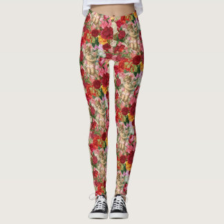 Victorian Cherub and Roses Scrapbook Leggings
