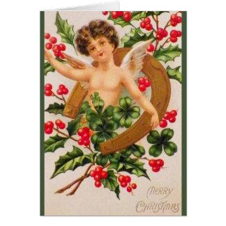 Victorian Cherub and Shamrock Christmas Card