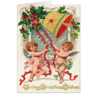 Victorian Cherubic Angels Ringing in Christmas Greeting Cards