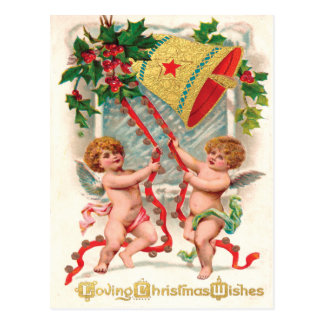 Victorian Cherubic Angels Ringing in Christmas Post Cards