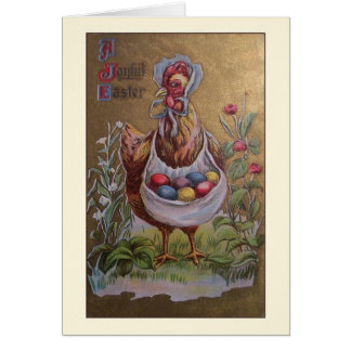 Victorian Chicken Easter Greeting Card