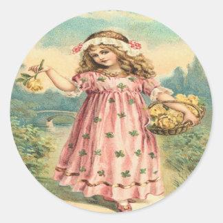 Victorian Child Clover St. Patrick's Day Stickers