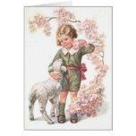 Victorian Child Lamb Cherry Tree Greeting Cards