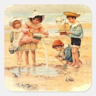 Victorian Children Beach Seashore Sandcastles Square Sticker