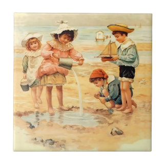 Victorian Children Beach Seashore Sandcastles Tile