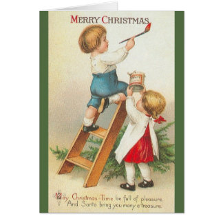 Victorian Children Christmas Greeting Card