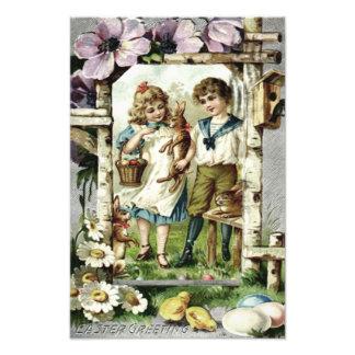 Victorian Children Easter Bunny Chick Egg Birdhous Photo Print