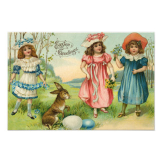 Victorian Children Easter Bunny Colored Egg Photograph