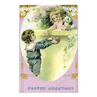 Victorian Children Easter Egg Bunny Lily Photo Art