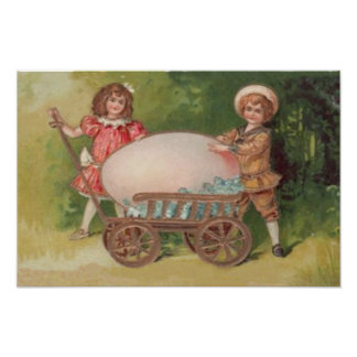 Victorian Children Easter Egg Forget Me Nots Wagon Photo